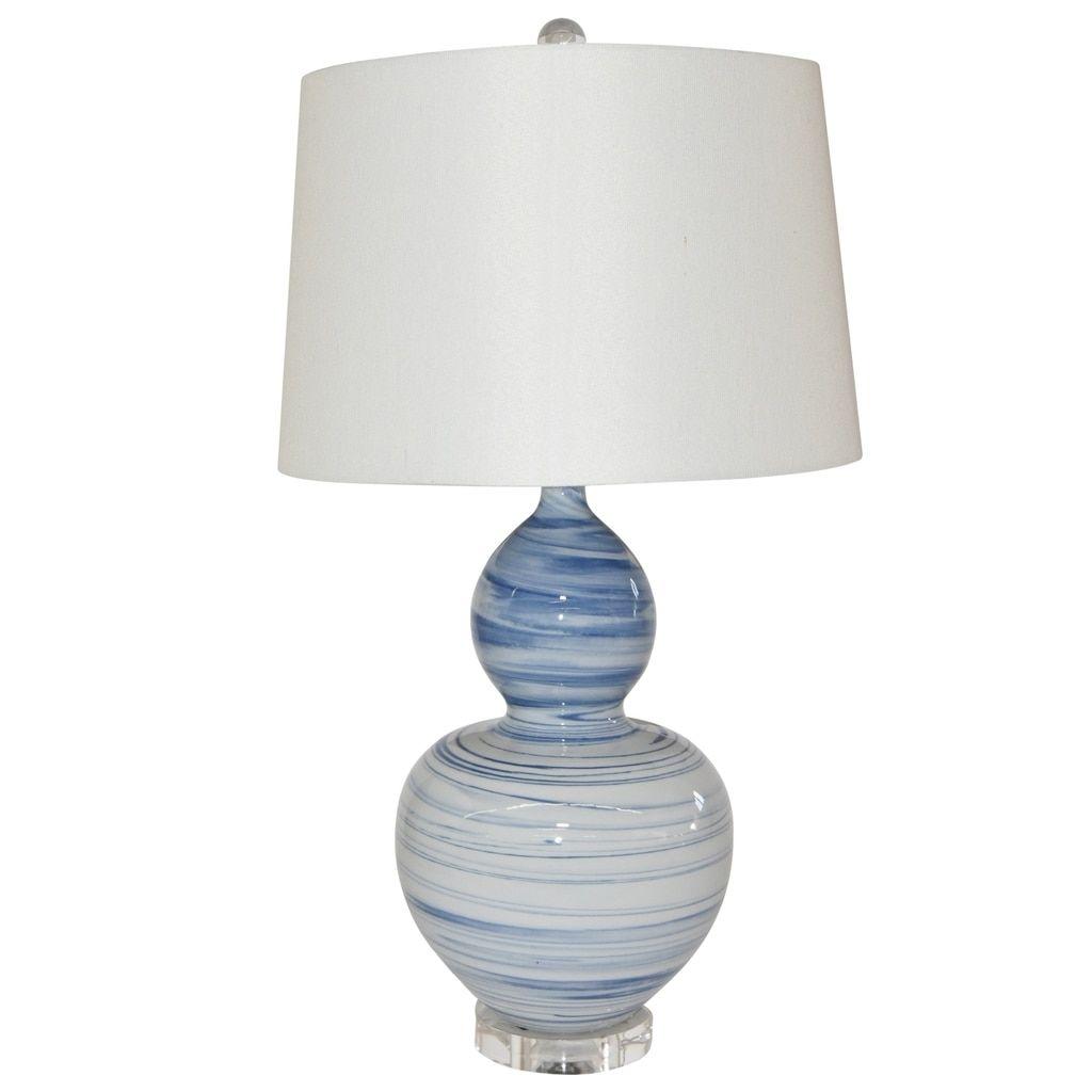 Blue And White Marblized Gourd Vase Lamp Vase Lamp Lamp Vases Decor
