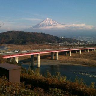 Mt.Fuji and Tomei-Highway from riverside of Fujikawa.