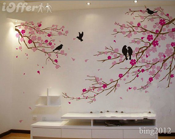 Tree wall art cherry blossom with birds wall decal tree for Cherry blossom tree wall mural