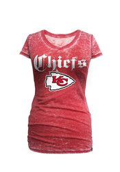 huge selection of dfed6 e0735 KC Chiefs Womens Red Burnout Fit Tee | NFL - Kansas City ...