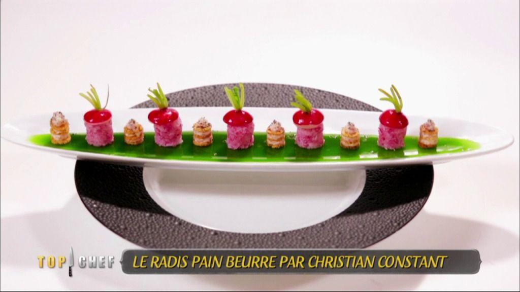 Le Chef Christian Constant possède plusieurs restaurants dit « bistronomiques », c'est-à-dire à mi-chemin entre le bistrot parisien et le restaurant gastronomique. Sa recette de radis beurre est parfaitement dans cet esprit de synthèse de deux cultures culinaires différentes et complémentaires. Vanessa, Martin et Olivier parviendront-ils à faire mieux que Christian Constant ? Rien n'est moins sûr car le Chef met la barre très haute !  Retrouvez Top Chef tous les lundis à 20 :55 sur M6.