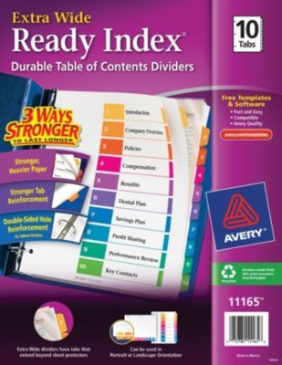 avery ready index extra wide table of contents dividers 1 10