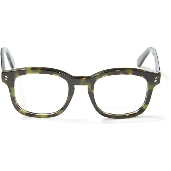 a60cb588f2e Stella McCartney Dark Green Glasses ( 240) ❤ liked on Polyvore featuring  accessories