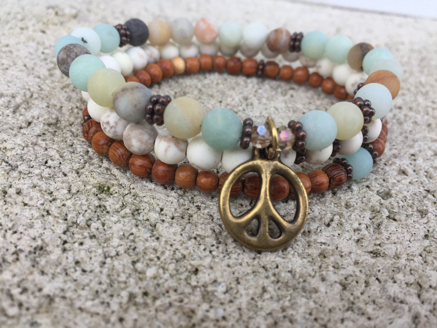 Amazonite, White Turquoise and Sandalwood Bracelet Stack with Peace Sign or Charm of Choice. Heart chakra. Throat chakra. Prayer Beads. Yoga by EvolvingJewelry on Etsy
