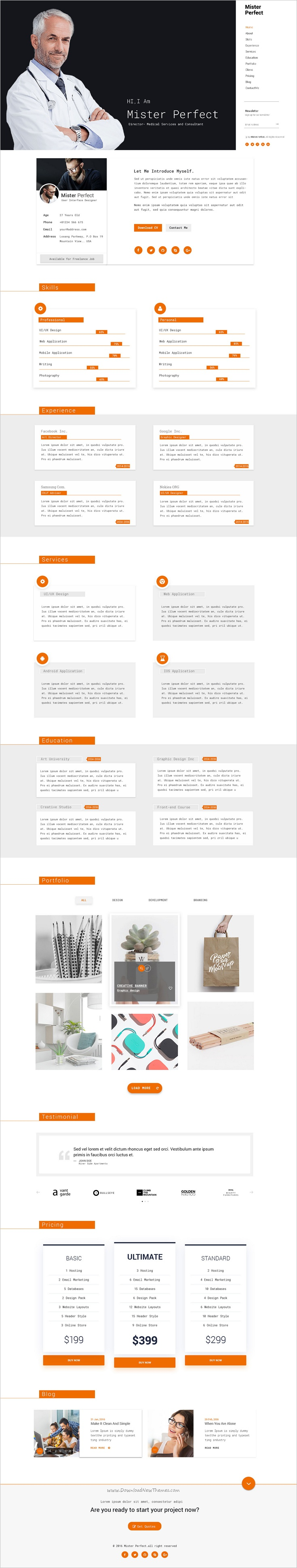 Mister Perfect  Minimal CvResume Psd Template  Mr Perfect Psd