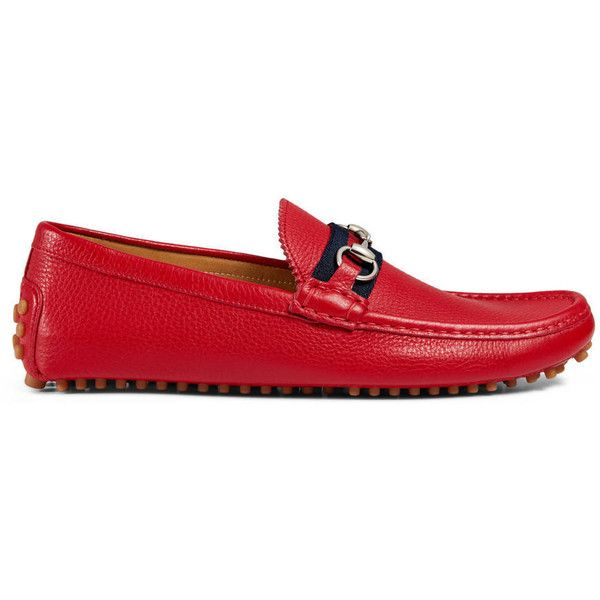 Gucci Leather Horsebit Driver ($430) ❤ liked on Polyvore featuring men's fashion, men's shoes, men's loafers, drivers, men, red, shoes, mens red shoes, mens shoes and gucci mens shoes
