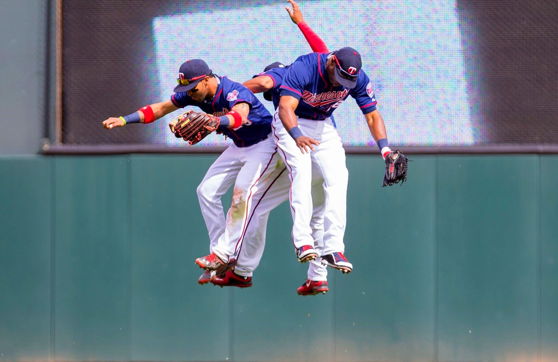 The Minnesota Twins Outfield Eddie Rosario Aaron Hicks And Torii Hunter Minnesota Twins Usa Today Sports Twins