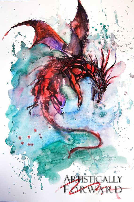 Fantasy Dragon Water Colour Painting