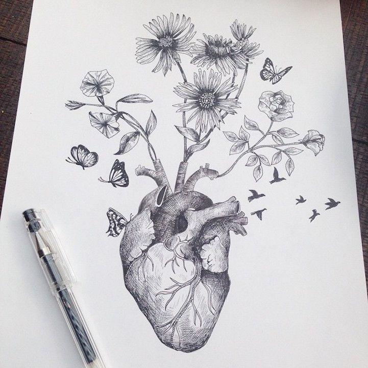 Les dessins de nature melee de alfred basha 17 art - Dessin coeur humain ...