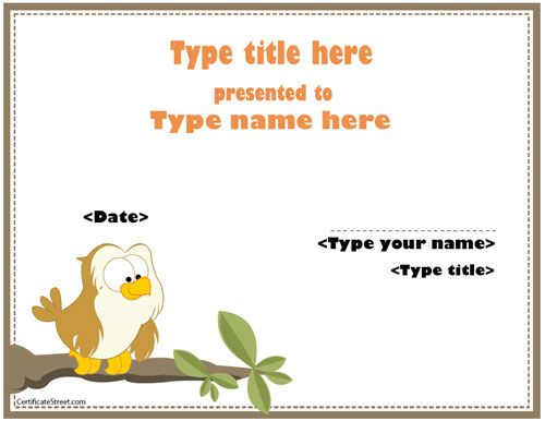 Certificate templates with animals CertificateStreet  Kids - attendance certificate template free