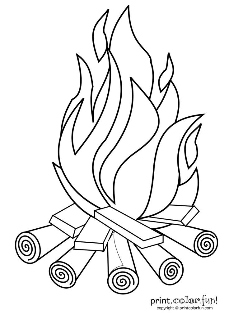children camp fire colouring pages - Fire Coloring Pages