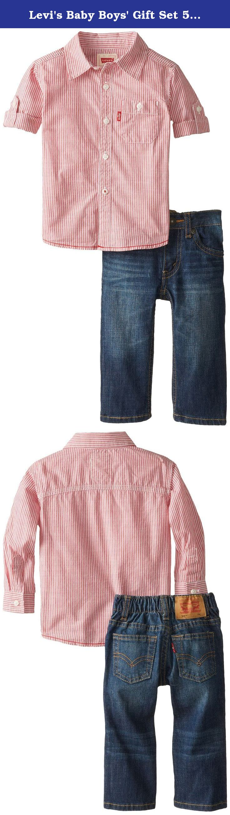 19234287 Levi's Baby Boys' Gift Set 526 Elastic Waist Jean and Long Sleeve Woven Top,