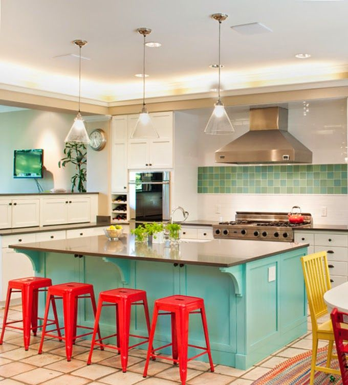 Red Decor For Kitchen: Turquoise Kitchen Island