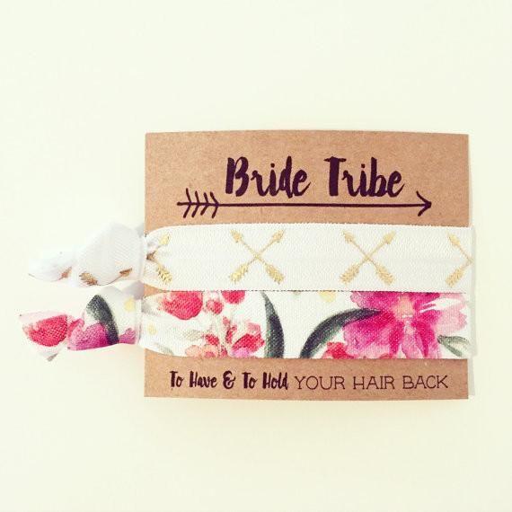 BRIDE TRIBE | FLORAL || Hair Tie Favors