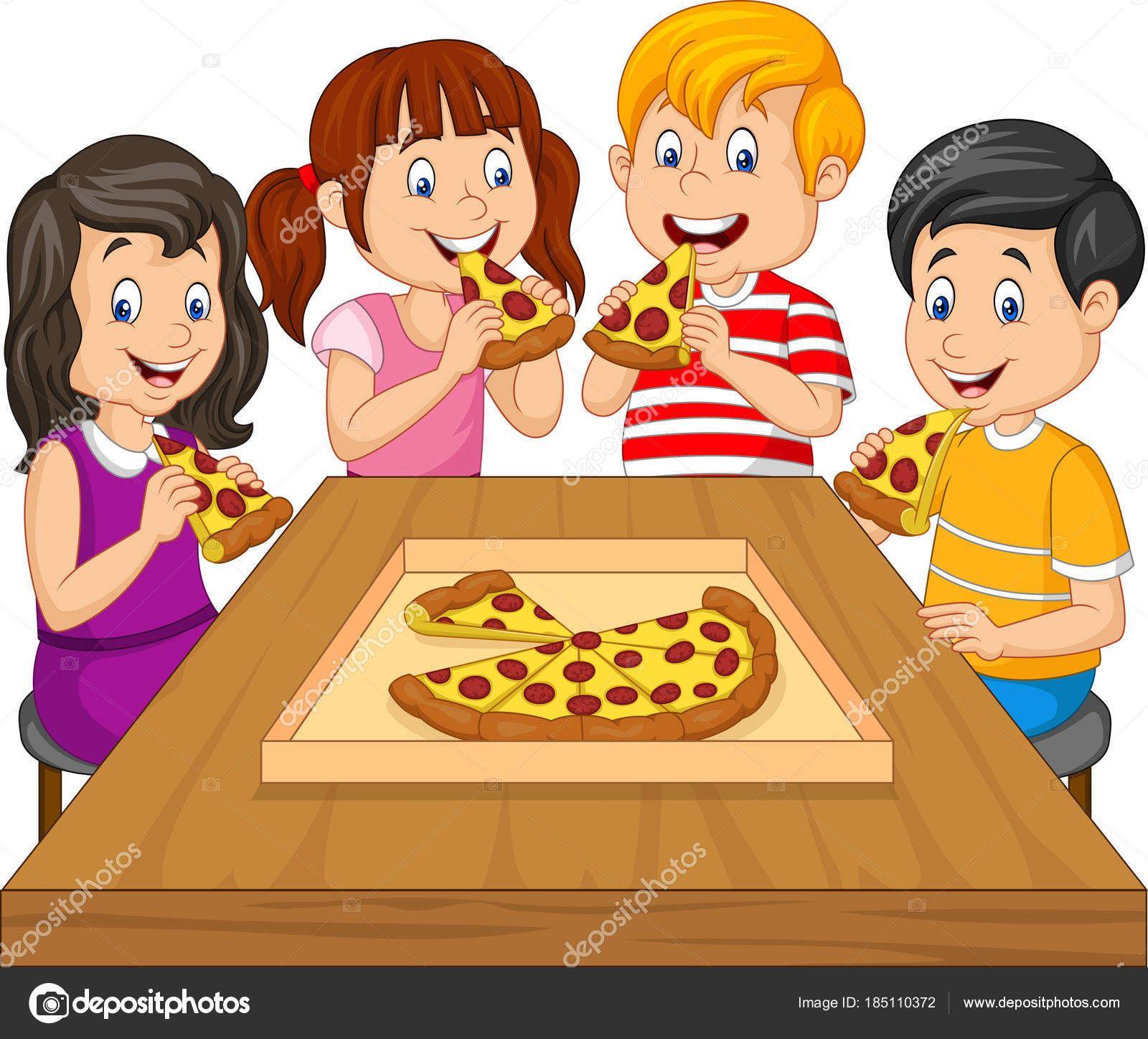 Descargar Ninos Dibujos Animados Comiendo Pizza Juntos Ilustracion De Stock Ninos Comiendo Animados Dibujos Para Ninos Como Dibujar Ninos