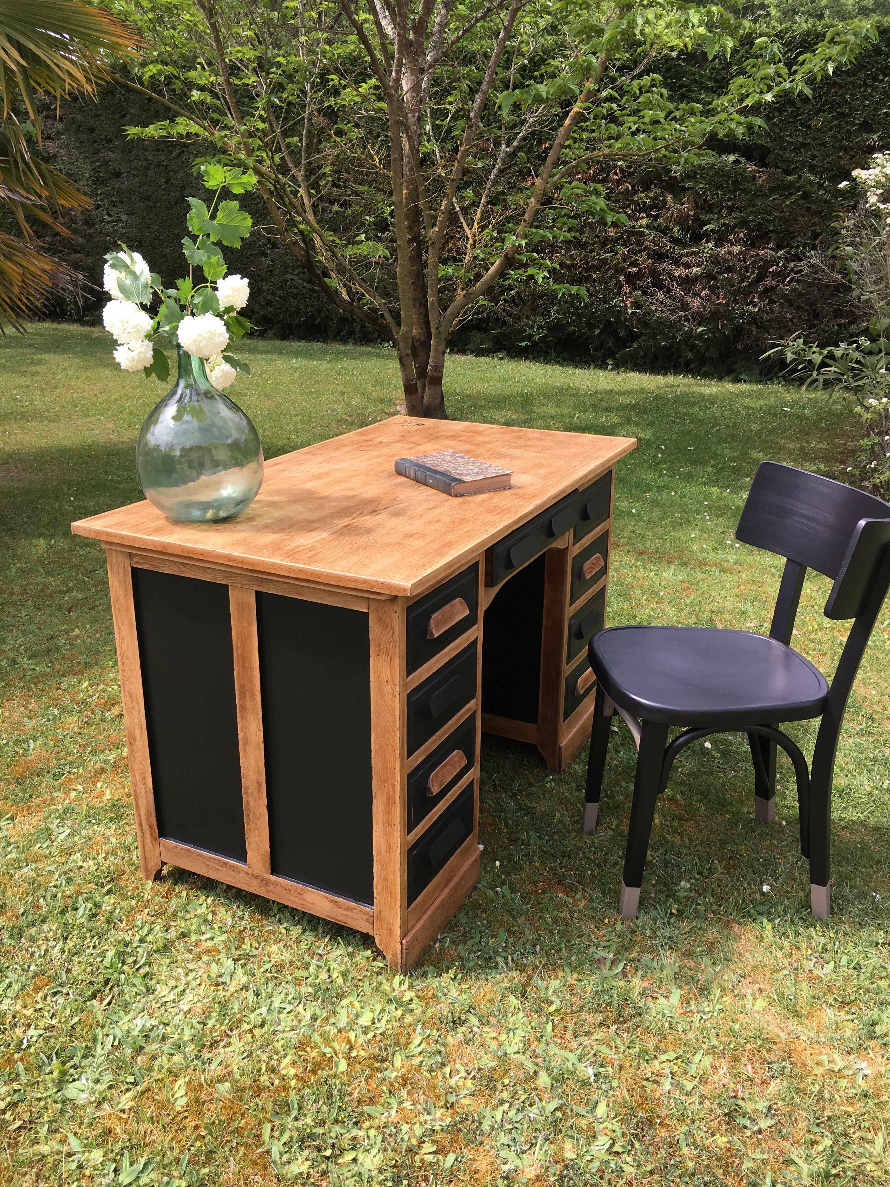 """Relooker Une Piece Bureau black & wood, le """"9"""" bureau ministre en chêne, 9 tiroirs"""