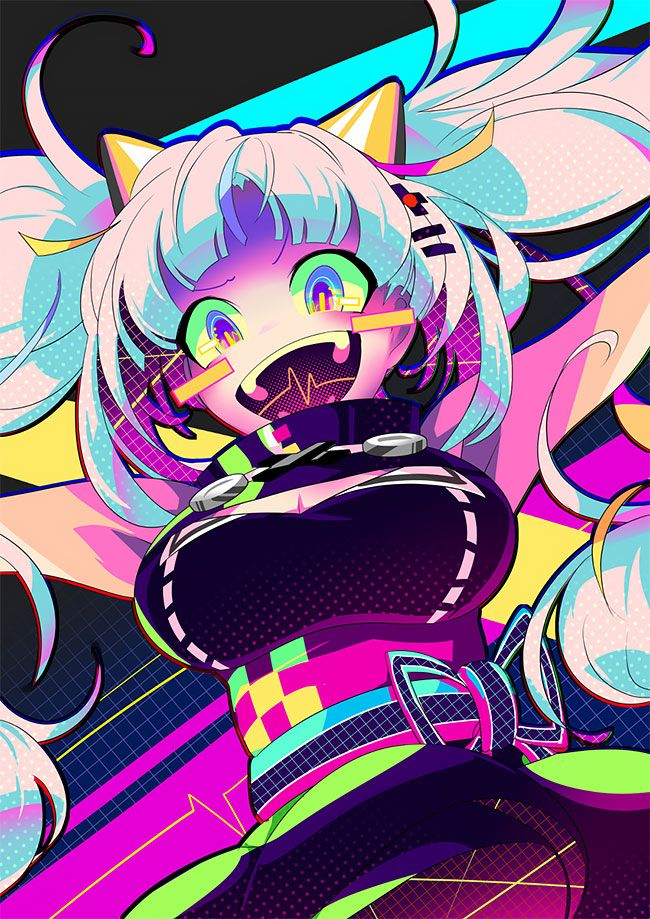 Japanese Illustrator BerryVerrine Dazzles With Awesome Retrowave Kawaii Art