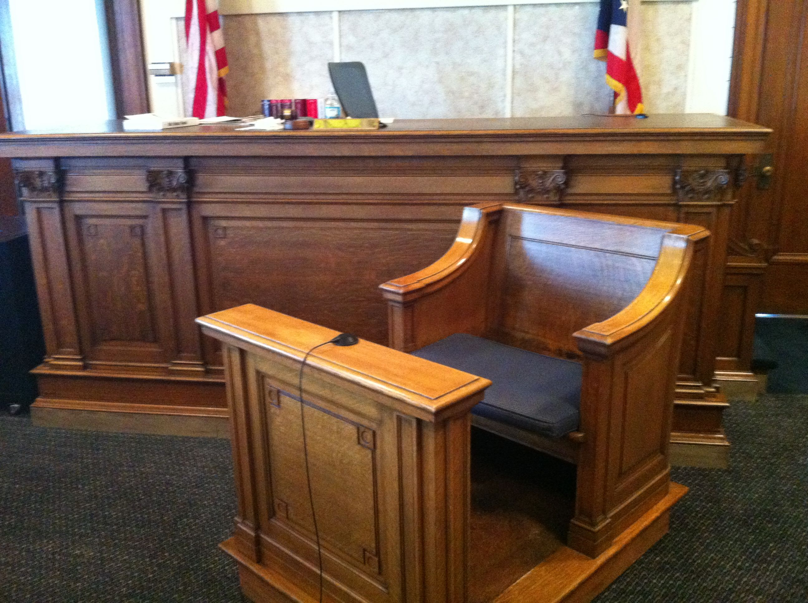 This is the witness chair at the Hardin County Common Pleas Court