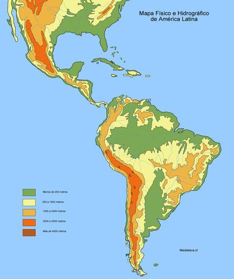 Mapa Físico Y Hidrográfico De América Latina South America Map Map America