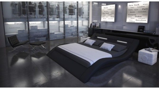 lit design simili cuir noir 200x200 cm ozark lit. Black Bedroom Furniture Sets. Home Design Ideas