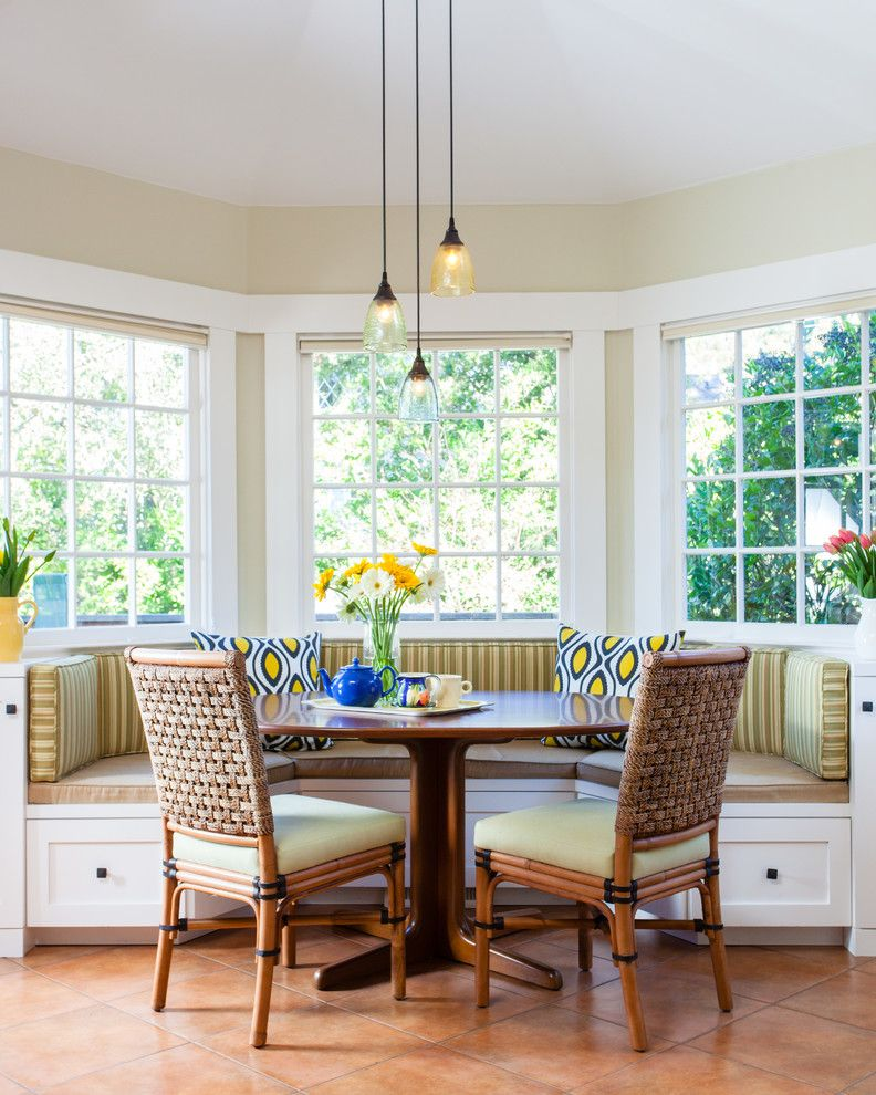 Breakfast Nook Benches Tall Back Chairs Wood Table Throw