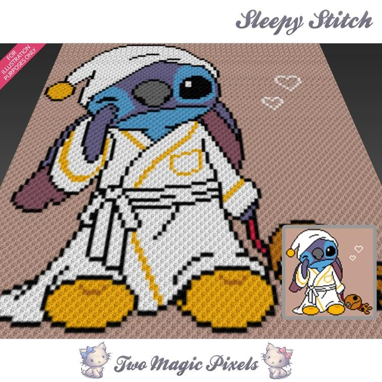 Sleepy Stitch C2C Crochet Graph