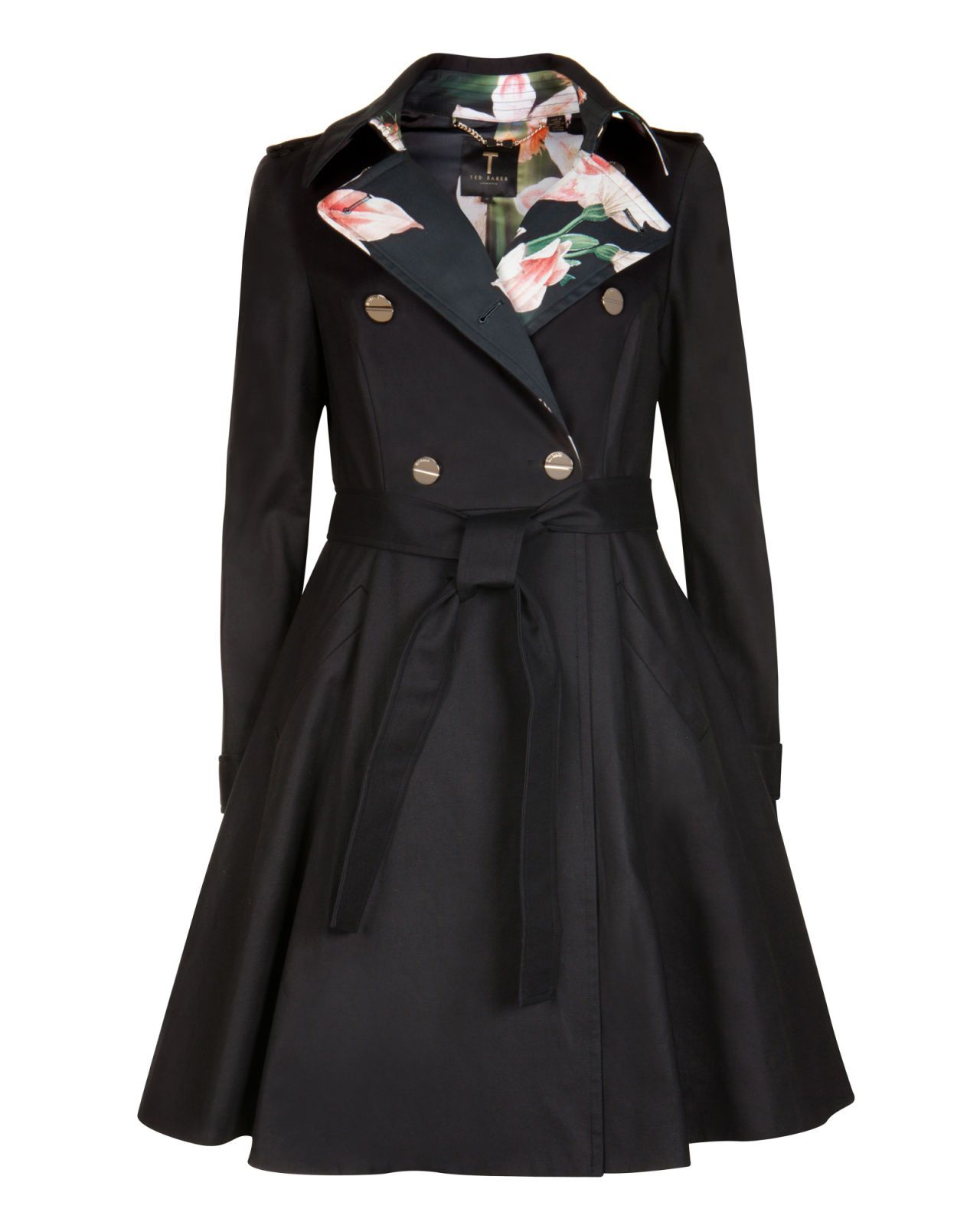 e4d1c968d Flared skirt trench coat - Black | Jackets & Coats | Ted Baker | Re ...