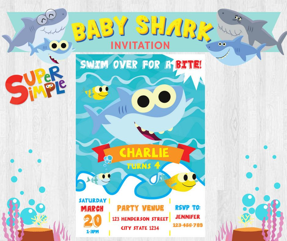 D This Listing Is For The EDITABLE Digital File Of Super Simple Songs Baby Shark Birthday Party Invitation Invites Printable