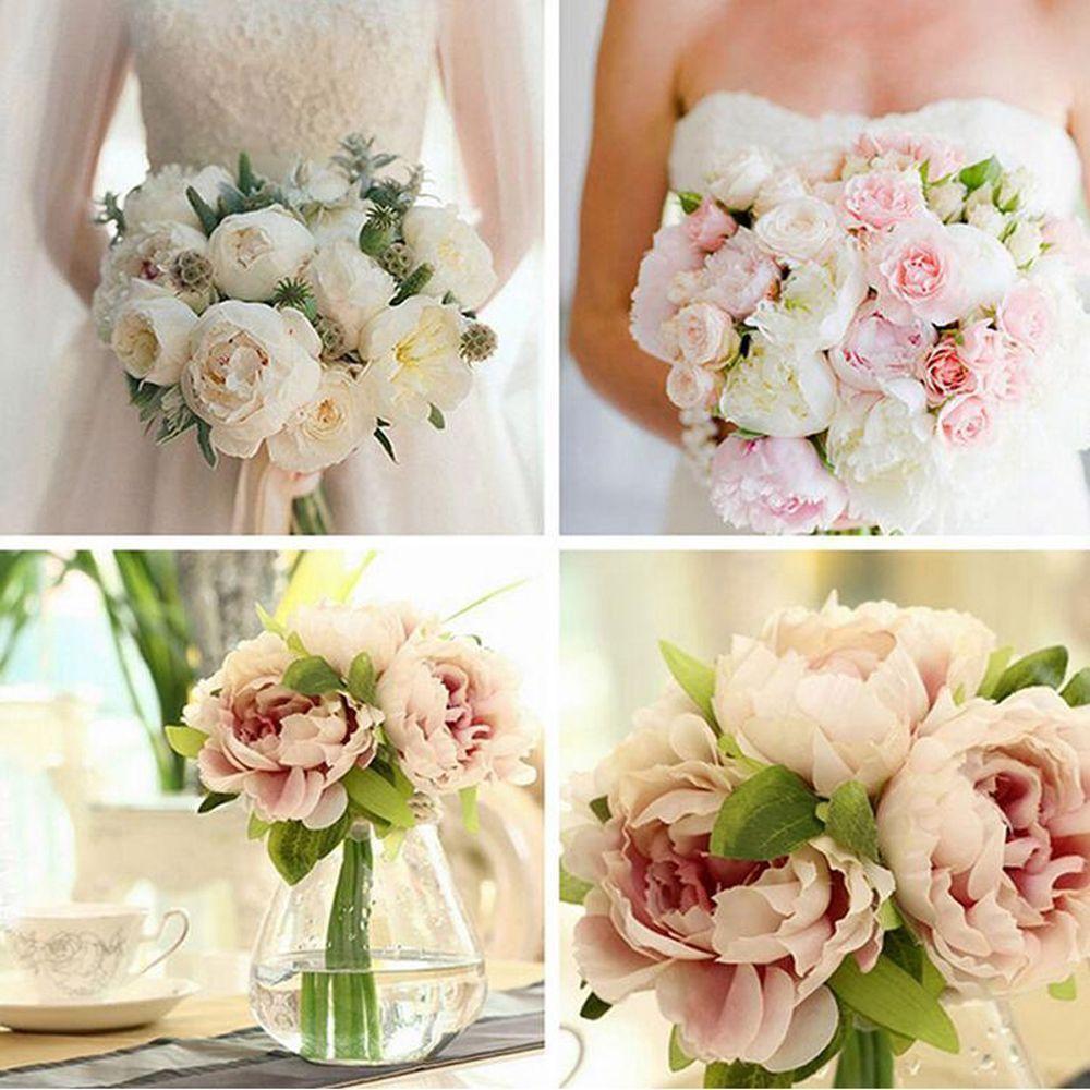 Wedding decor all white  Bouquet Bridal  Heads Silk Flowers Peony Flower Home Wedding Decor