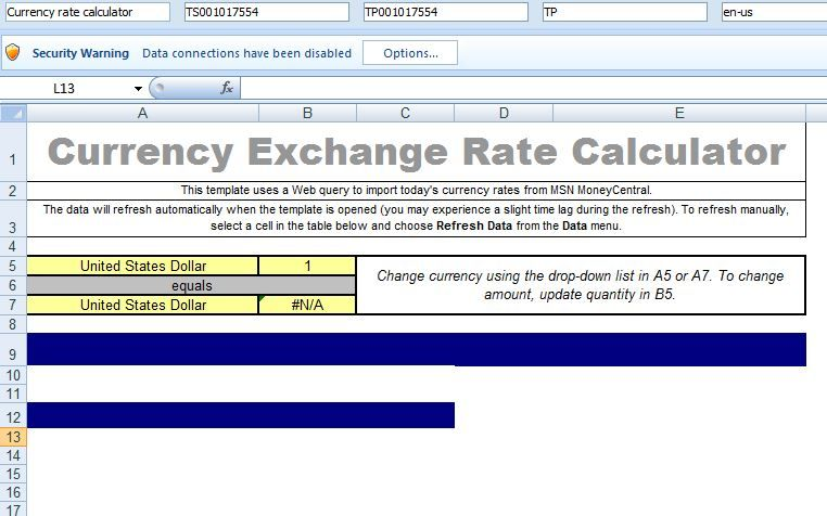 Sample Currency Exchange Rate Calculator Template Free Microsoft - sample time card calculator