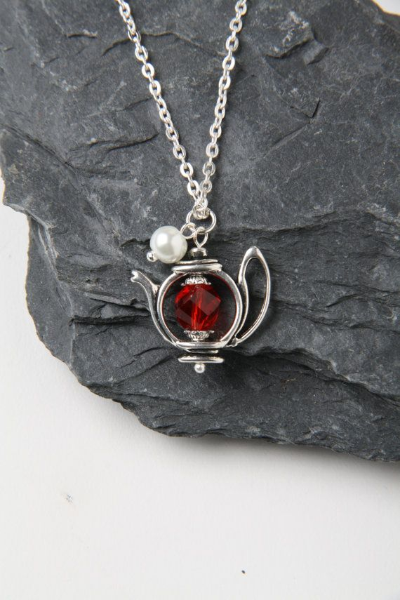 Teapot Necklace - red crystal and pearl