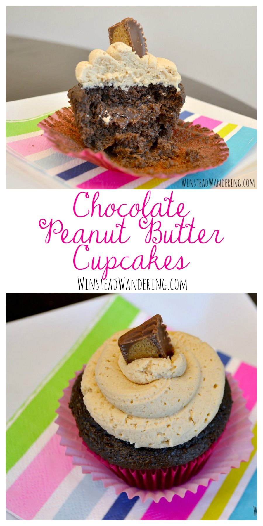 chocolate peanut butter cupcakes with cake mix