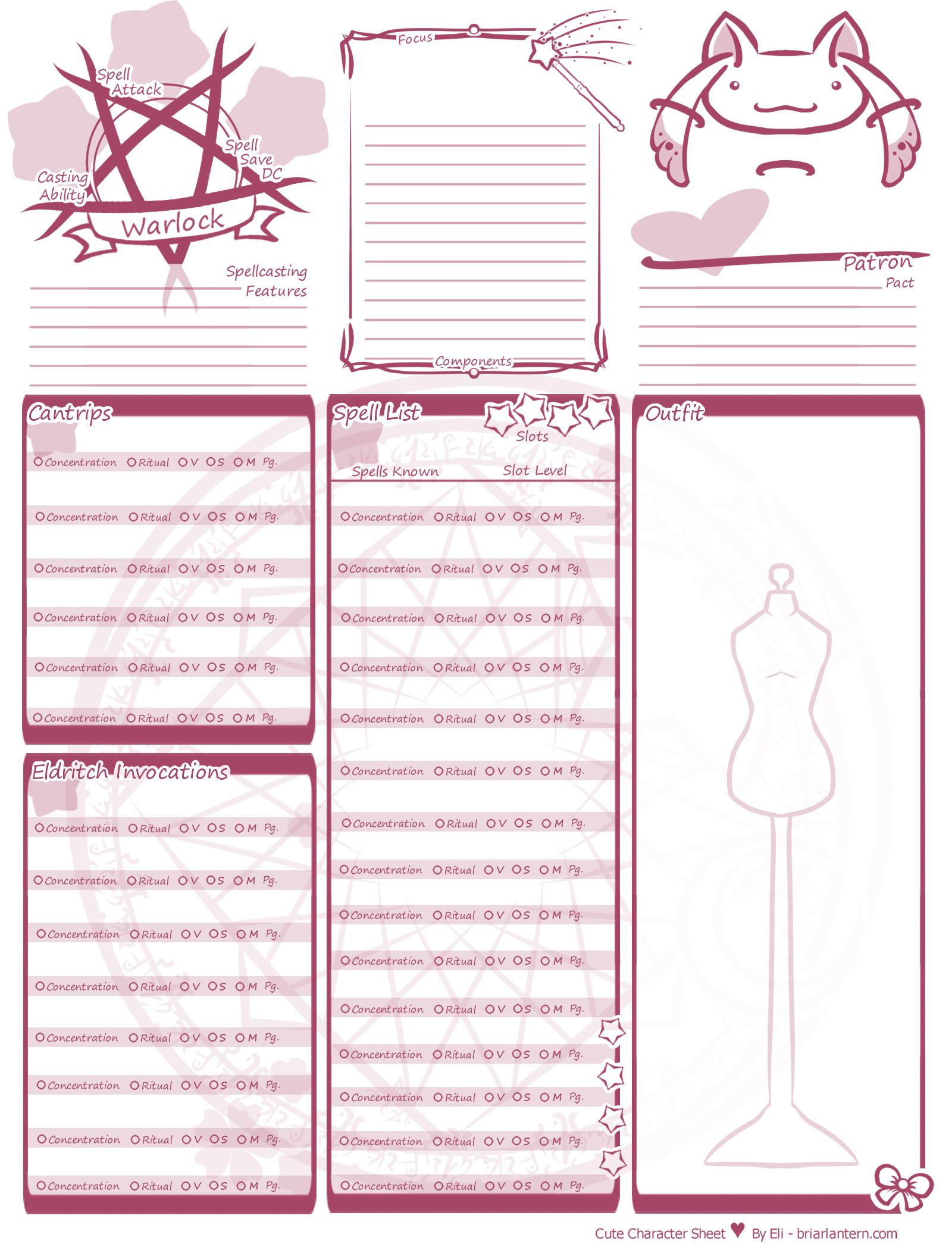 Oc Art 5e Update Cute Character Sheet Spell Sheets Character Sheet Template Dnd Character Sheet Character Sheet