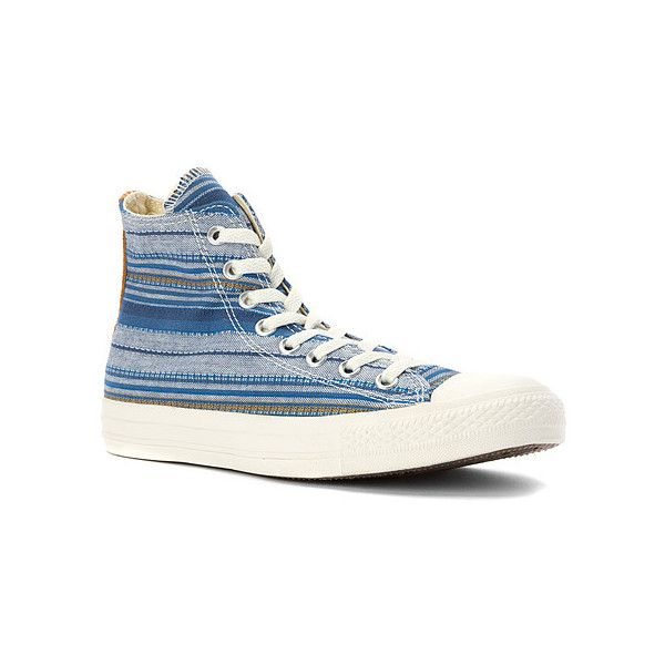 Converse Chuck Taylor Crafted Textile High Top Sneaker Women's Blue Striped