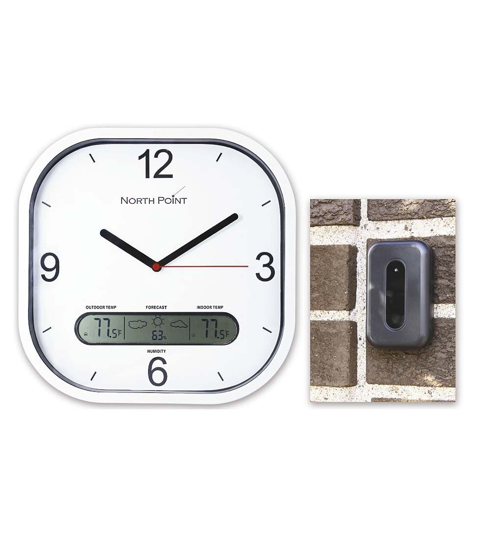 Wall Clock With Wireless Weather Sensor In Outdoor Thermometers And Clocks Clock Outdoor Thermometer Wall Clock