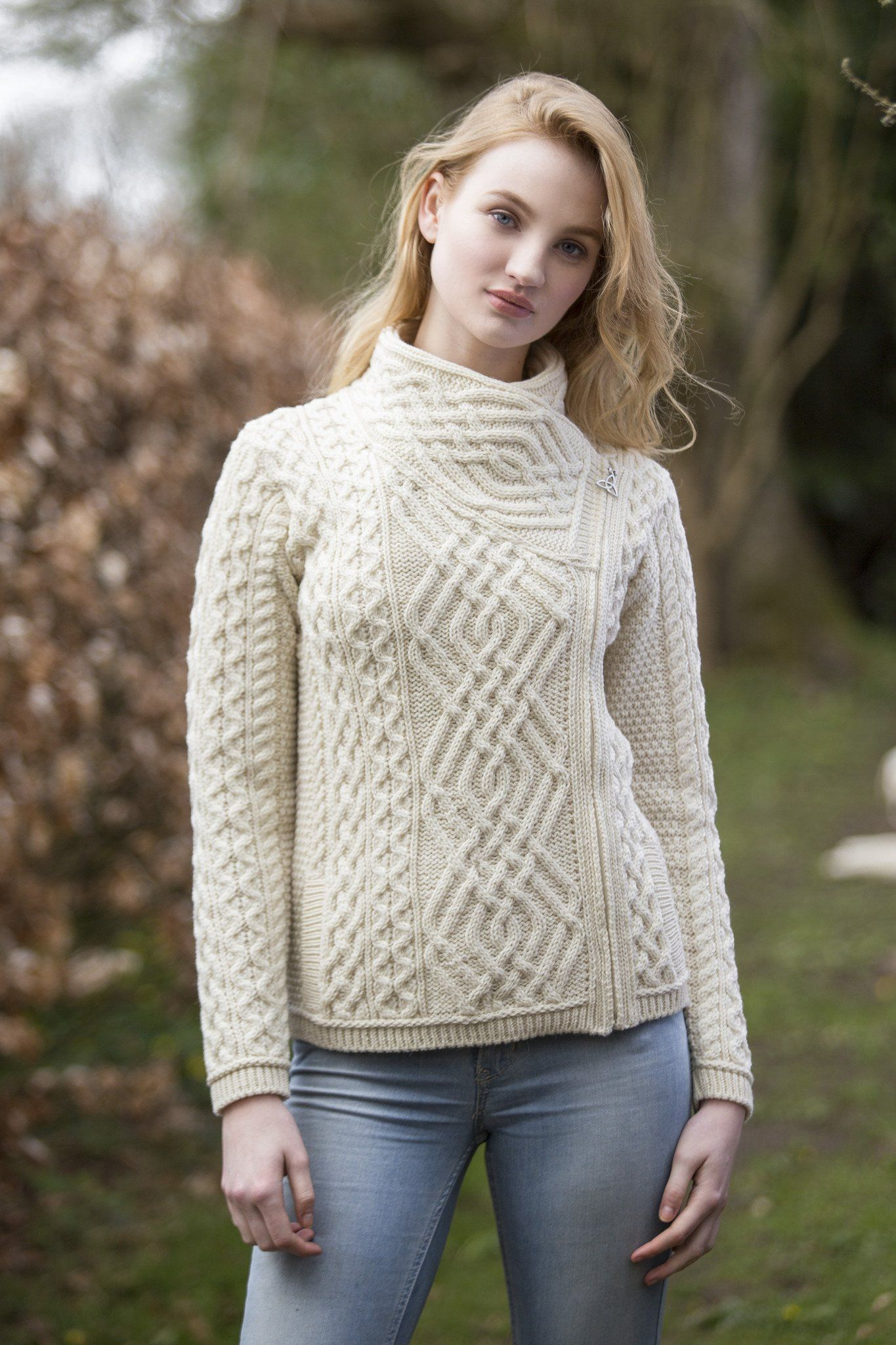Women\'s Cable Knit Side Zip Jacket - Natural | Mujeres naturales ...