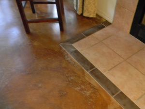 Rip Up The Carpet And Stain Your Concrete Concrete Stained Floors Concrete Floors Diy Transition Flooring
