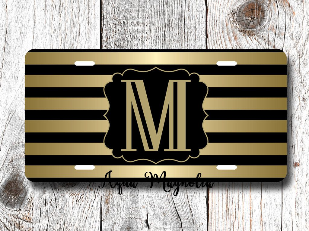 Black & Gold Stripes - Personalized - License Plate - Gold and Black - Car Tag - Monogrammed License Plate by AquaMagnolia on Etsy