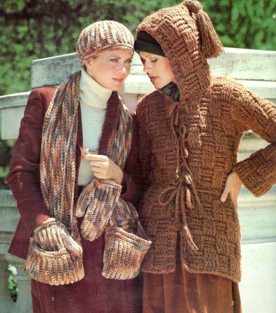 89deebb0d vintage crochet pattern bundle basket weave bulky hooded cardigan ...