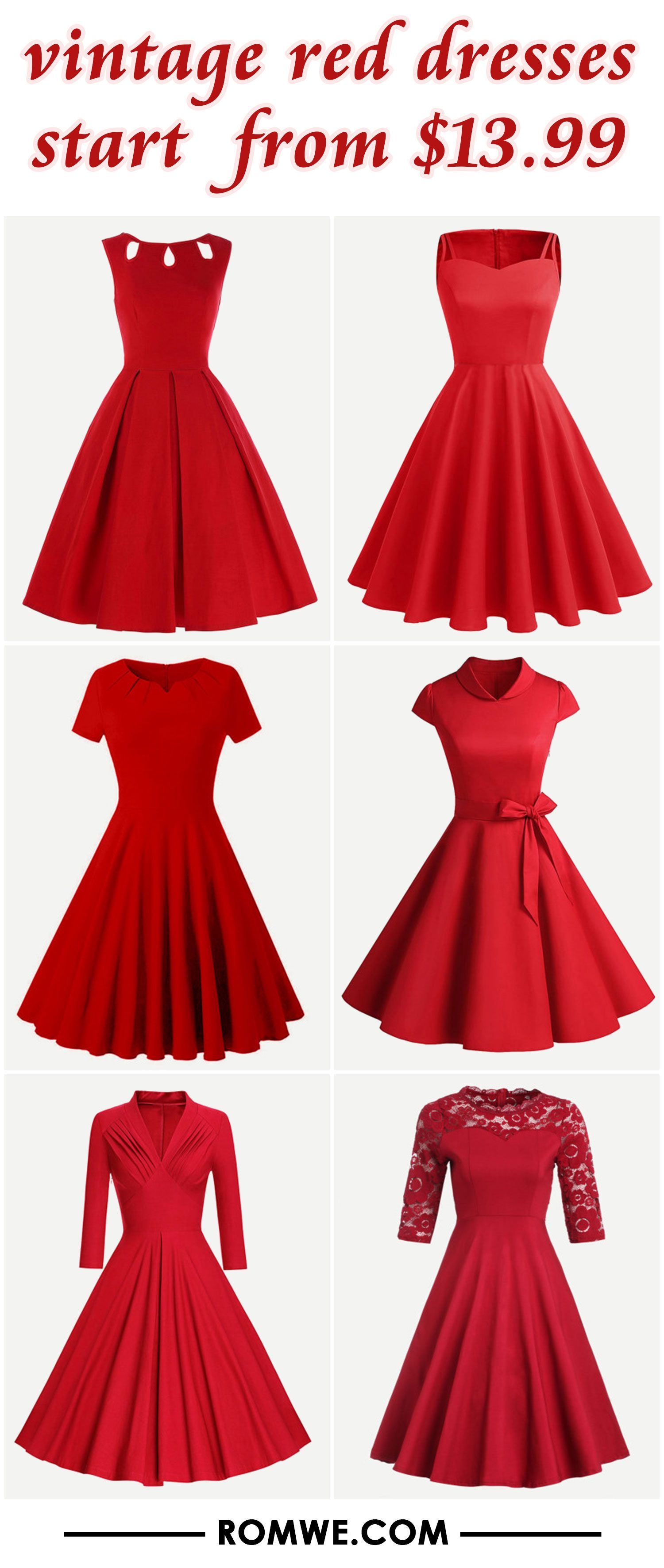 vintage red dresses from $13.99 | Cute