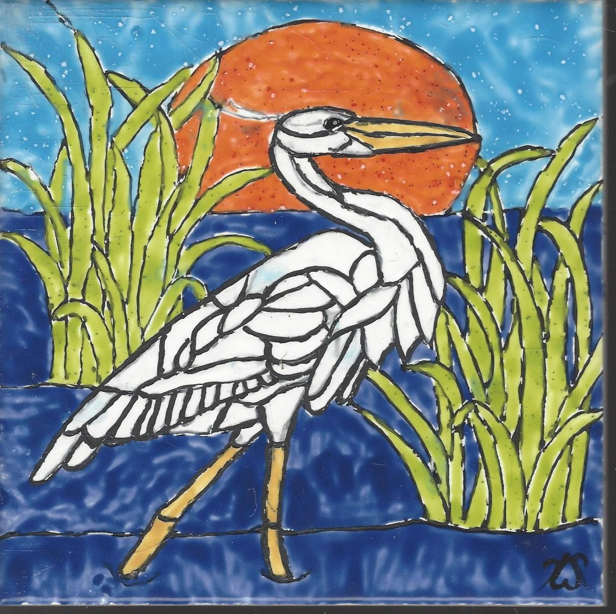 Great White Heron 215 Hand Painted Kiln Fired Decorative
