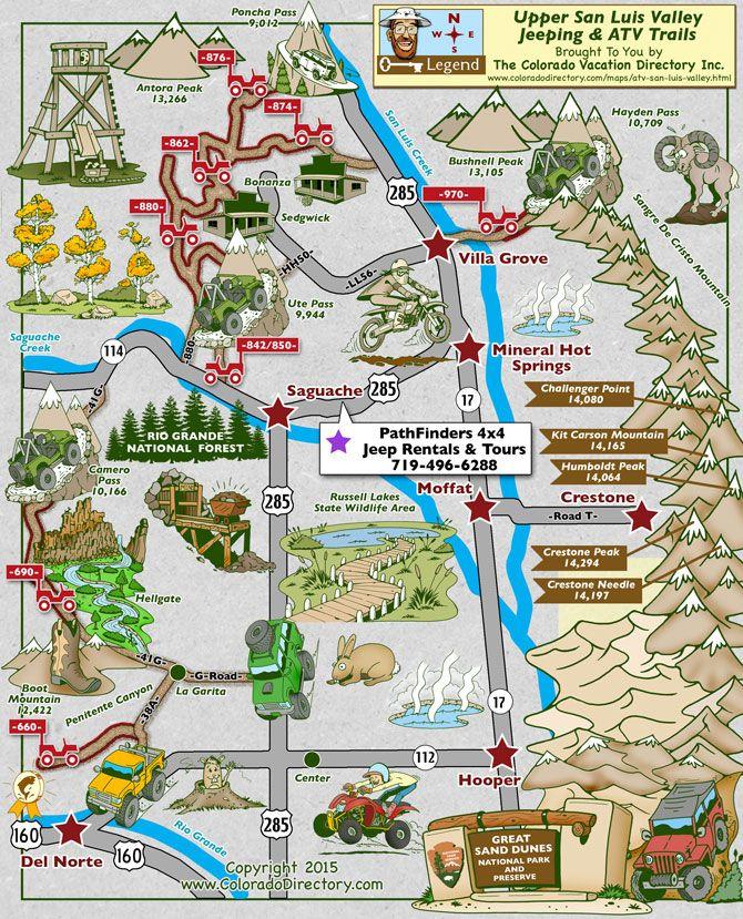 San Luis Valley ATV & Jeeping Map, Colorado | Bonanza ... Map Of Luis on map of rumbek, map of wu, map of siu, map of chicago,