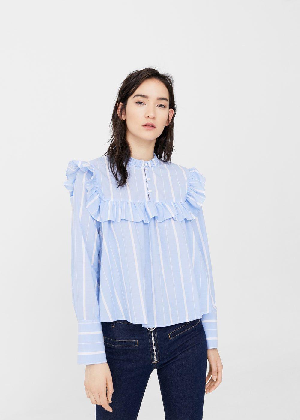 cd2b581be84805 Ruffled stripe-patterned blouse - Women in 2019 | FALL 18 WOVEN TOPS ...