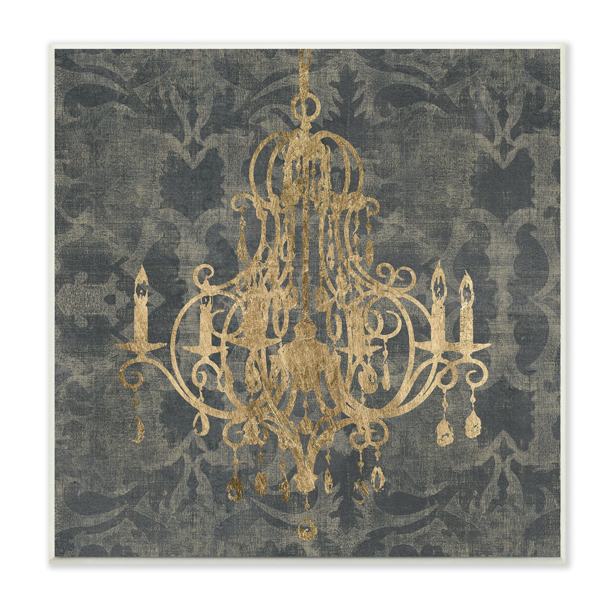 Stupell wooden damask chandelierthemed stretched canvas wall art