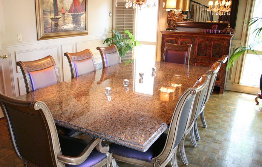 Labrador Antique Granite Dining Table Ogee Edge Parquet Floor