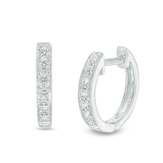 T W Diamond Huggie Hoop Earrings In 14k White Gold