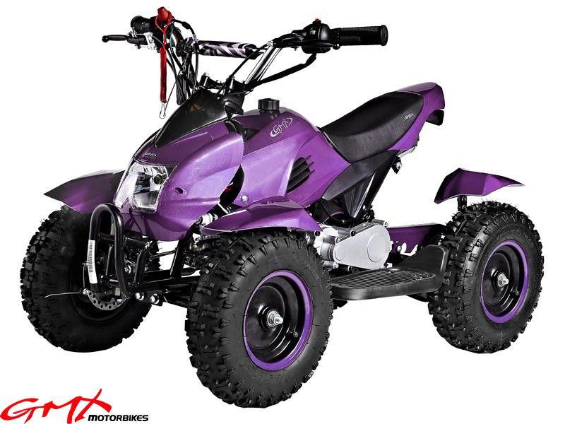 Gmx Kids Electric Quad Atv Bike 49cc Model Purple Ride On Toys