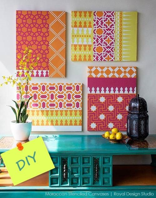 como decorar mi casa con stencil de motivos geometricos de estilo