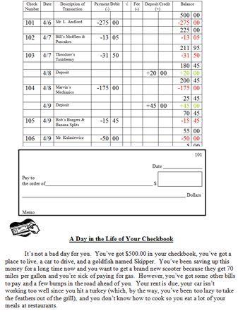 check register worksheet