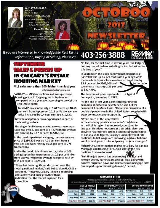 Calgary Real Estate Newsletter October Page   Calgary Real